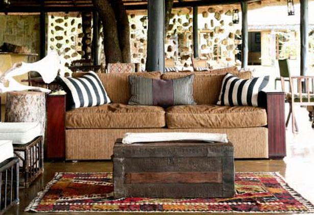 Game lodge das wohnzimmer im afrikanischen stil in der motswari