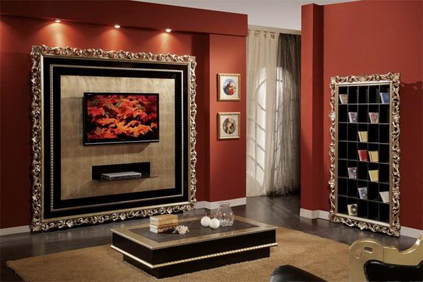 neobarock wohnzimmer:Wohnzimmer Wand Barock Schwarz und Gold …