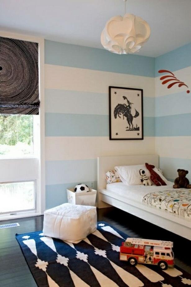 Wohnung Streichen Vorschlage :  Schlafzimmer Streichen  Streifen Wand StreichenDeko Idee weiß Junge