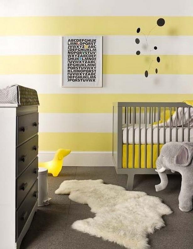 zimmer ausmalen ideen:Streifen-an-der-Wand-gelb-grau-kombination