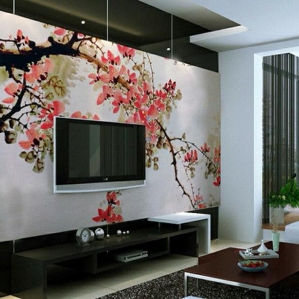 Hochwertige Moderne Tapeten : Japanischer-Stil-modernes-Wohnzimmer-Tapete