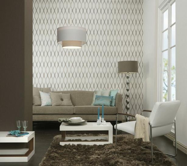tapeten wohnzimmer braun:moderne-tapeten-mit-symetrischen-formen-weiß-und-braun