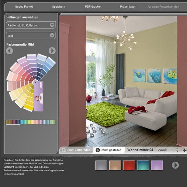 Raumgestaltung farben beispiele for Farbige wandgestaltung wohnzimmer