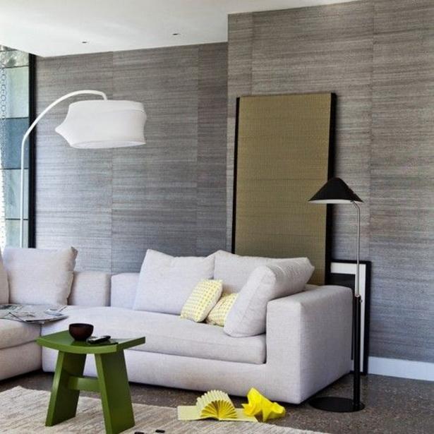tapete wohnzimmer ideen:einrichtungsideen wohnzimmer wohnzimmer tapeten grau grüner tisch