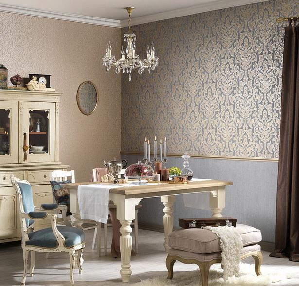 wohnzimmer-farbgestaltung-wand-tapeten-florale-motive-modern