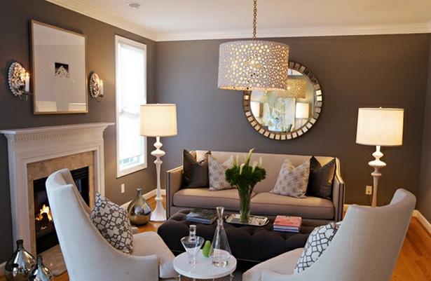 wohnzimmer wanddeko ideen:beeindruckende Wohnzimmer Dekoration leuchter couch lampe tisch