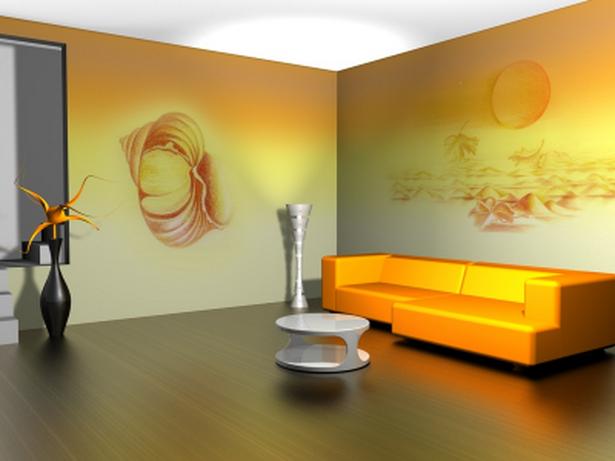 wohnzimmer idee farbe:modern-wohnzimmer-interieur-orange-sofa-kleine-tisch