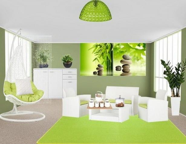 Interiordesign Wohnzimmer Grün
