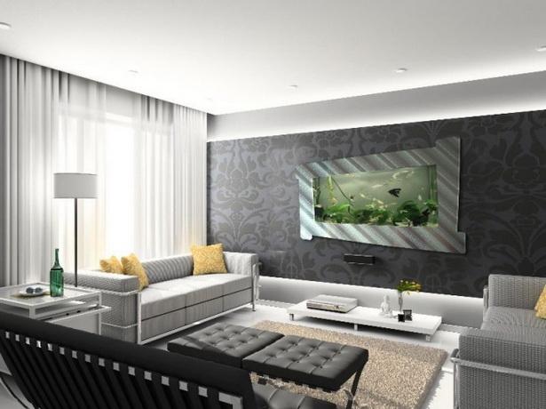 wohnzimmer tv wand ideen:echtes Kunstwerk aquarium ideen wohnzimmer wand integriert rahmen
