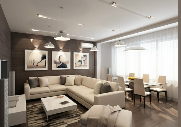 Wohnzimmer mit esszimmer einrichten for Wohnzimmerwand braun