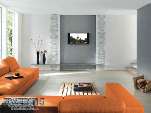 Wohnzimmer mit tapeten gestalten - Wohnzimmer tapete modern ...