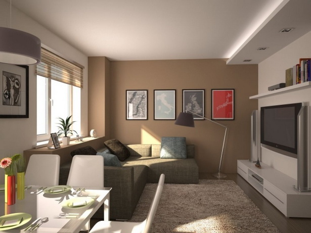 Wohnzimmer esszimmer in einem gestalten for Kleines wohnzimmer modern