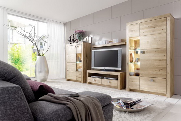 Wohnzimmerm bel massivholz for Moderne wohnwand massivholz