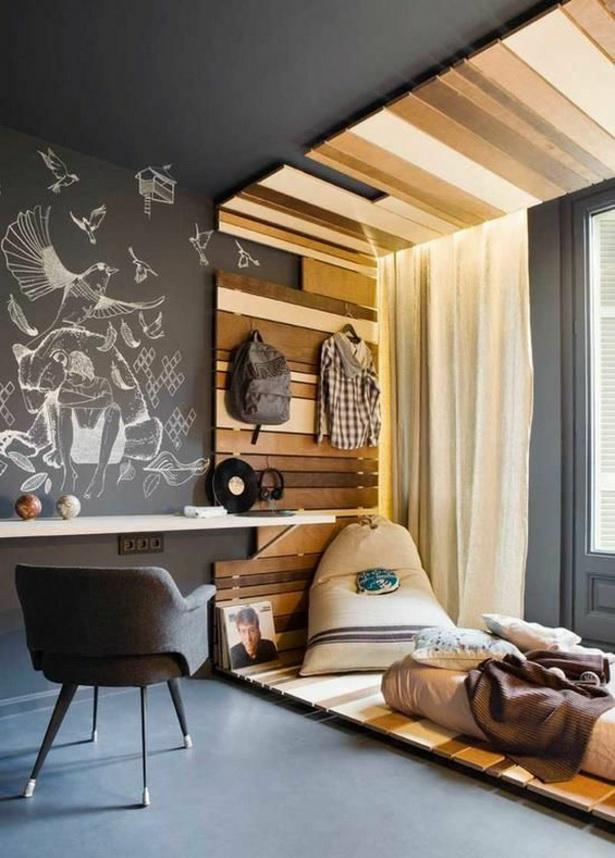Zimmergestaltung Jungen : zimmergestaltung ideen jugendzimmer holz industriell motive