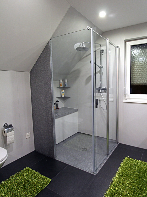 Dusche Gemauert Bilder : Nachher: bodenebene Dusche mit einseitig wegfaltbarer Duschkabine