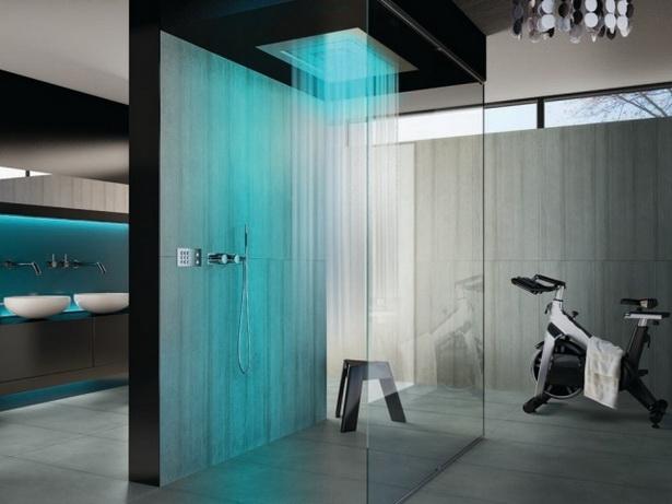 Dusche Ideen Bad : regendusche modernes bad blaue beleuchtung glaskabin