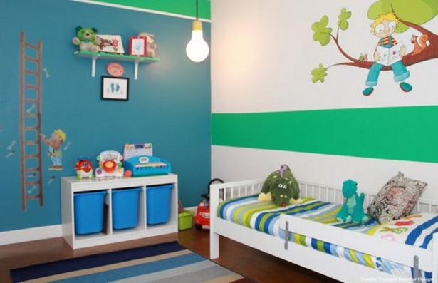 jugendzimmer für jungen gestalten wandfarbe blau grün wandtattoos