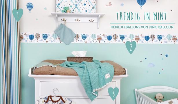 bei Fantasyroom – Babyzimmer mit Bordüren in mint gestalten