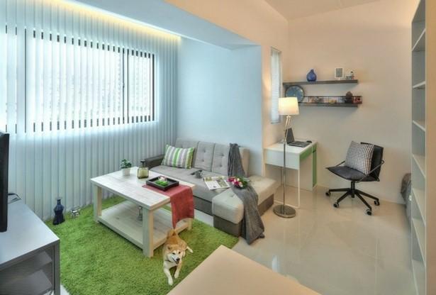 1 Zimmer Wohnung Einrichten Wohnzimmer Buero Schreibtischstuhl Regal
