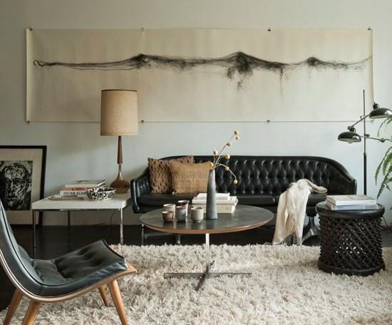 wohnzimmer mit schwarzer couch. Black Bedroom Furniture Sets. Home Design Ideas