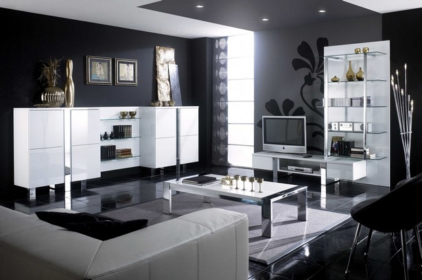 wohnzimmer schwarz wei einrichten. Black Bedroom Furniture Sets. Home Design Ideas