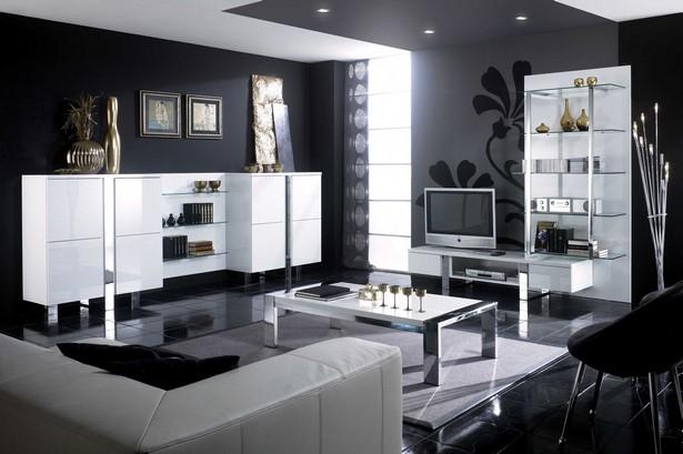 wohnzimmer schwarz wei einrichten