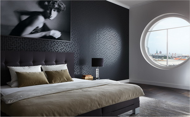 tapeten schlafzimmer sch ner wohnen. Black Bedroom Furniture Sets. Home Design Ideas