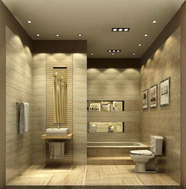 Badezimmer Fliesen Naturfarben: Bad Beleuchtung Ideen