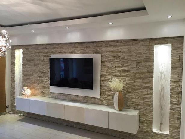 Fernseher dekorieren for Bescheiden wohnzimmer ideen steinwand