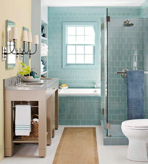 Kleines Badezimmer Grüne Fliesen Hellgelbe Wand