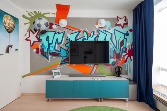 jugendzimmer tapete jungen. Black Bedroom Furniture Sets. Home Design Ideas