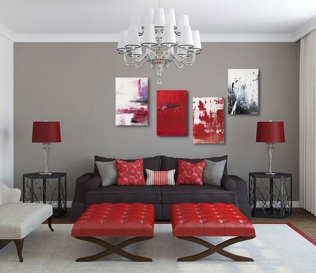 rote dekoration wohnzimmer