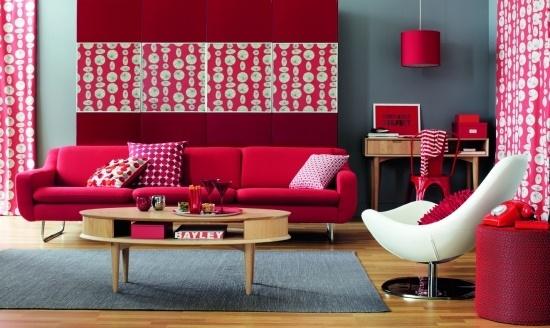 Wohnzimmer deko rot
