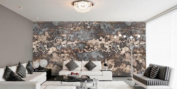 Wohnzimmer dekoration silber - Deko wand tapeten ...