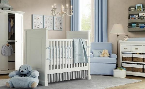 Babyzimmer Gestalten Weiss Blau Jungen Room Pluschtiere