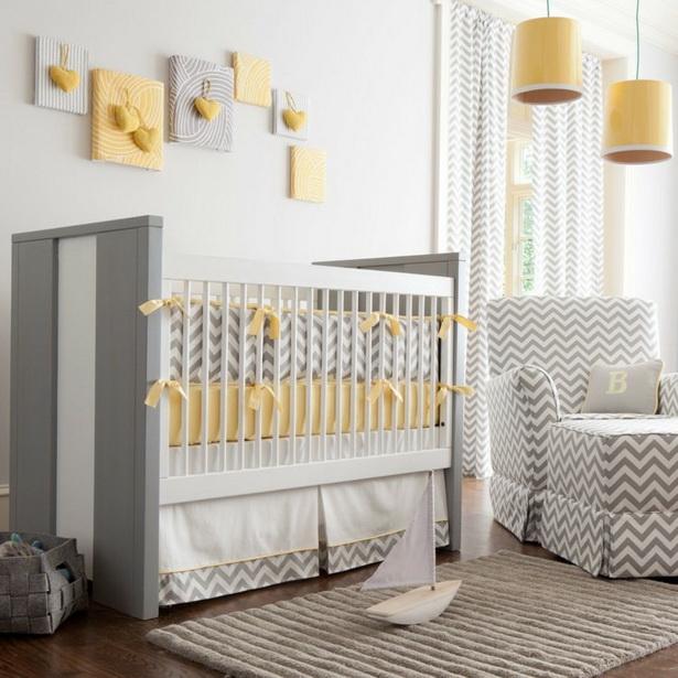 Babyzimmer Jungen Gelb Grau Zig Zag Muster