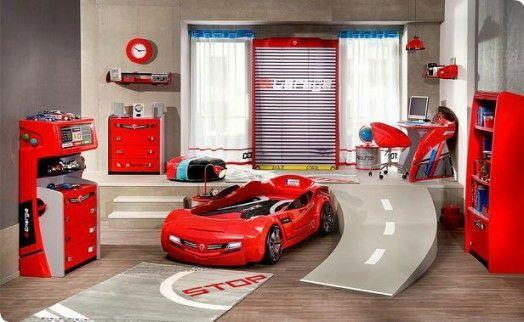 Kinderzimmer Einrichtung | Kinderzimmer Einrichten Junge Bett Auto  Einrichtung Rot Schnellwagen. Babyzimmer ...