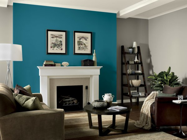 wnde streichen ideen wohnzimmer stark farbe blau kamin - Farben Ideen Fur Wohnzimmer