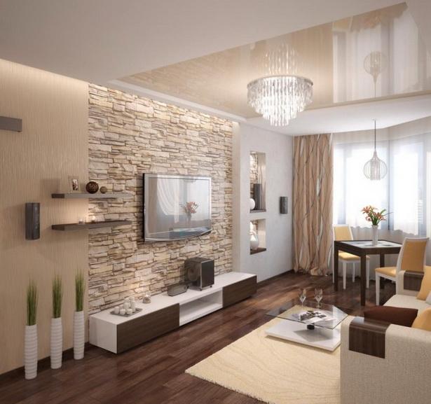 Wohnzimmer Modern  Einrichten Beige Warm Natursteinwand Wand Montierter  Fernseher