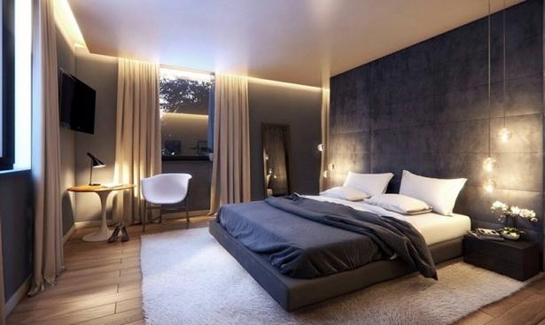 Schlafzimmer Led Ideen Schlafzimmer : Schlafzimmer Mit Wandpaneelen Aus  Stoff Abgehängter Decke Und