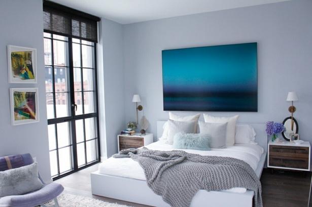 Wände Blaue Gemälde Moderne Einrichtung Schlafzimmer. Wandfarbe U2026