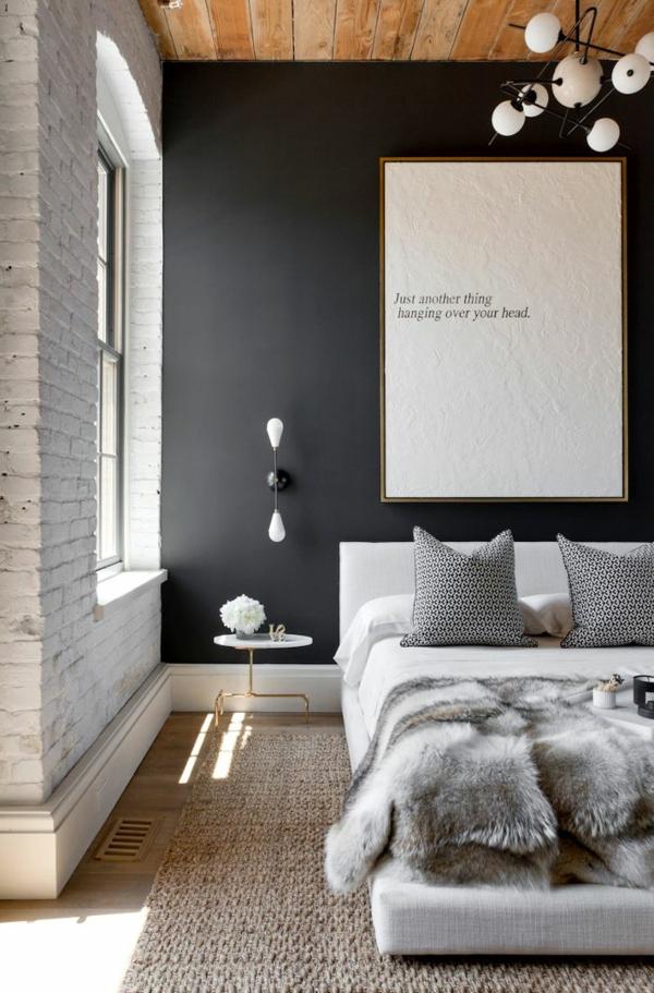 schlafzimmer ideen wandfarbe schwarz kreative wandgestaltung - Moderne Wandfarben