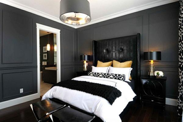 khne schlafzimmer farben ideen mit schwarz weien akzenten - Schlafzimmer Wandfarben Ideen