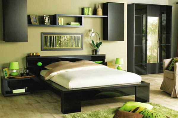 schlafzimmer gestalten gr n. Black Bedroom Furniture Sets. Home Design Ideas