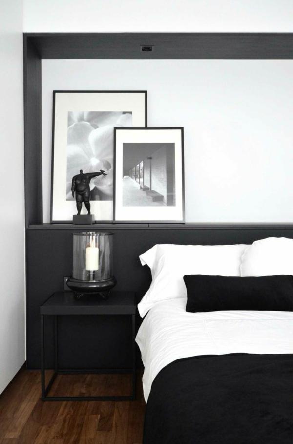 schlafzimmer in schwarz wei gestalten. Black Bedroom Furniture Sets. Home Design Ideas