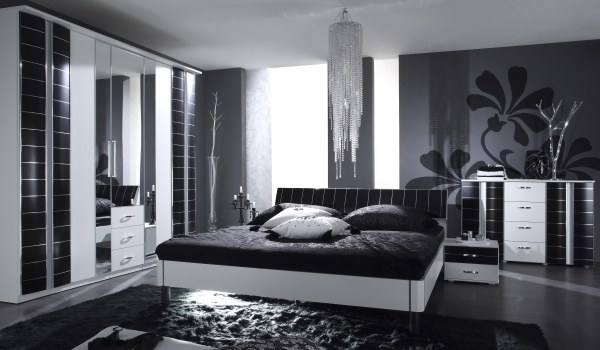 schlafzimmer in schwarz wei gestalten. Black Bedroom Furniture Sets. Home Design Ideas