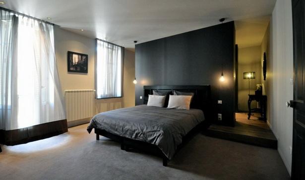Interieur Schwarzen Akzenten Schlafzimmer Bett Akzentwand Auslegware