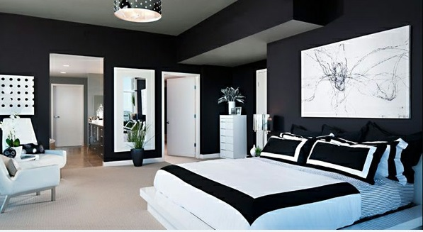Schlafzimmer schwarz weiß deko