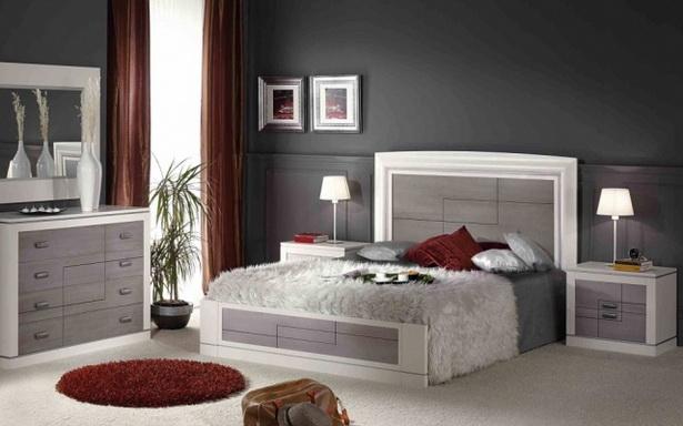 Wandfarbe Schlafzimmer Schiefergrau Weisse Moebel Graue Elemente Rote