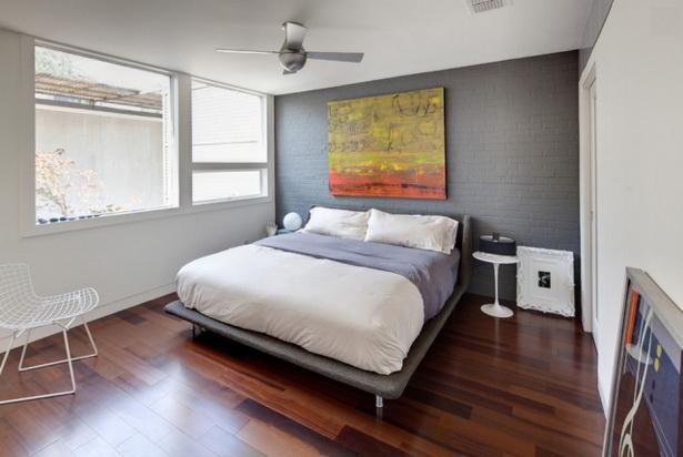 Wandfarben Schlafzimmer Akzentwand Gestaltung Ziegel Grau  Streichen Wohnideen